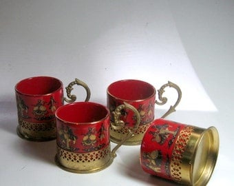 Brass Handle China Teacups, Vintage Brass Handle China Demitasse Cups, Vintage Demitasse Cups, Four German Red China Brass Handle Teacups