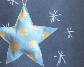 Blue and gold dot canvas star ornament