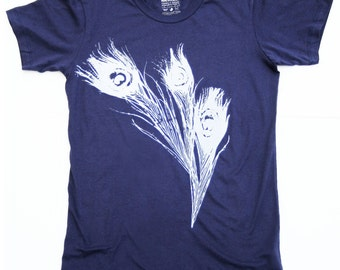 Women Peacock Tshirt -  White Peacock Feather on Dark Blue Shirt -  Cotton Tshirt -  Small, Medium, Large, XL - Fashion