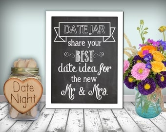 Date Jar Sign Chalkboard Printable 8x10 PDF Instant Download Rustic Shabby Chic Woodland