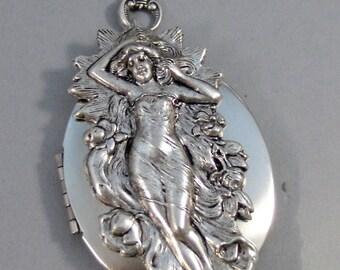 LItha,Locket,Silver Locket,Girl,Goddess,Antique Locket,Summer,Summer Solstice,Goddess Locket,Goddess Necklace,Woman valleygirldesigns.