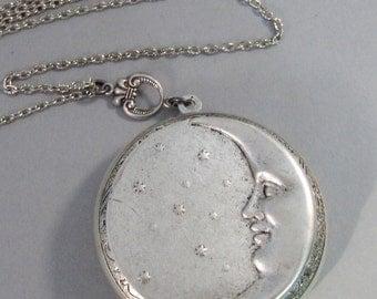Under The Moon,Locket,Silver Locket,Moon,Star,Night,Goddess,Locket,Antique Locket,Antique,Moon,Love You,Moon Necklace. valleygirldesigns.