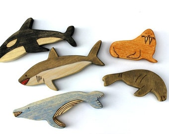 wooden toy animal, wood whale toy, waldorf wooden toys, sea animal wood toy set, whale figurine, walrus wooden toy,
