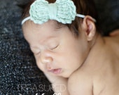 Crochet Mini Bow Elastic Headband | 43 colors available