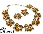 CHAREL Vintage Necklace and Earrings 1950s Set Lucite and Rhinestone Demi Parure