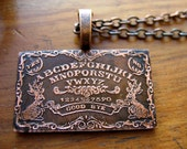 Ouija Board Necklace in Copper - witch jewelry, occult, jackalope ouija necklace