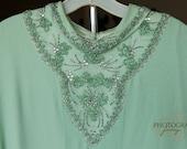 Vintage PLUS size Mint Green Beaded Chiffon Caftan Gown
