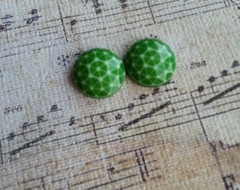 Bridal Plugs, Girly Plugs, Unique Plugs, Vintage Cabochon, Green and White, Geometrical Pattern