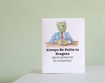 A mini book with funny mottos and inspirational quotes about dragons, mindfulness & etiquette, with envelope and enclosure card. Gift book.