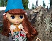 Blue felt Gnome Cap Hat helmet for Blythe