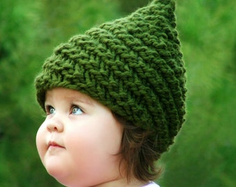 Knitting PATTERN - Baby Gnome Hat Pattern - Sizes (0-3mo/3-6mo/12-24mo/24-48mo/5-10yr) Pattern Includes English, German, Spanish, French