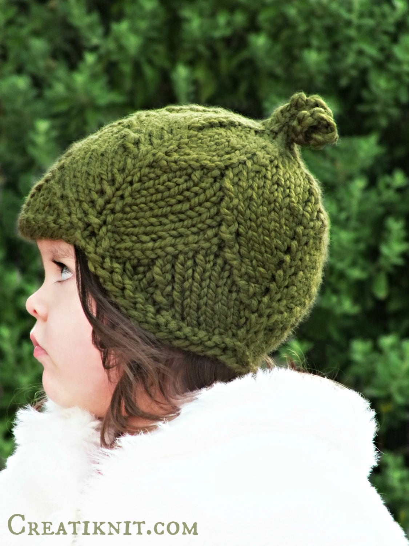 Knitting PATTERN-Leaf Hat ToddlerChildAdult sizes by CreatiKnit