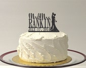 CUSTOM Wedding Cake Topper with Bride and Groom Silhouette Personalized Mr and Mrs Topper YOUR Last Name + Date Custom Wedding Topper