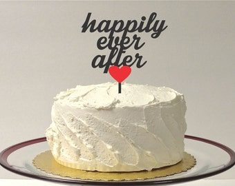 MADE In USA, Happily Ever After Wedding Cake Topper With Heart Color Choice Wedding Cake Topper Bride and Groom Wedding Topper
