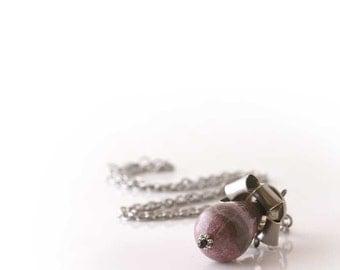 Silver Bullet Shell Necklace, 45 ACP, 45 Auto, rhodochrosite gemstone, Pink, Grey, Womens Bullet Jewelry