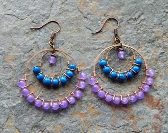 Beaded Hoop earrings, gypsy earrings, Chandelier earrings, blue and purple, colorblock jewelry, custom colors, bridesmaid earrings