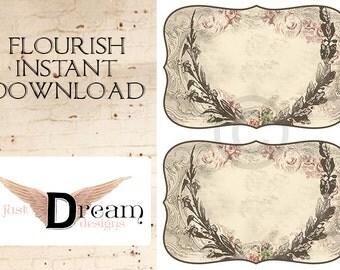 Digital Instant Download Paris Rose Flourish Label - aceo - altered art - digital Collage sheet