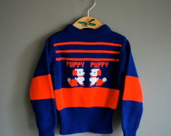 Vintage 70s TODDLER Puppy NOVELTY Sweater Jumper 2T