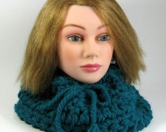 Clearance Sale, Teal Scarf Cowl Womans soft chunky neckwarmer  Ready to ship