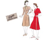 RARE 40s Shirtdress Sewing Pattern Vogue Couturier Design 383 Size 14 Bust 32 inches Sew For Victory