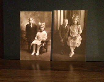 Vintage Lot of 2 Boy Dwarf and Sister Photos