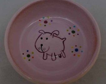 Purple/Pink Ceramic Dog Bowl * Dog Food Bowl * Dog Water Bowl * Cute Dog * Purple/Pink Dog Bowl