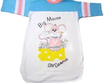vintage tshirt nightie BIG MoUSE On CaMPUS big shirt sleep 80s neon fun