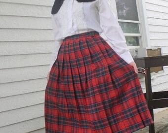 Pleated Skirt Red Plaid Wool Full Schoolgirl XS Vintage