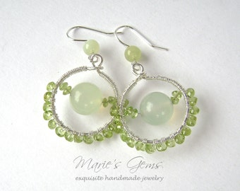 Peridot Earrings, Silver, Wire Wrapped, Apple Green, Pale Green, Serpentine, New Jade Earrings, Circle Earrings, 843