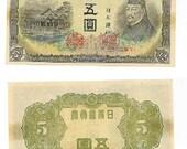 1943 Five Yen Sugawara no Michizane; Kitano Shrine {97}