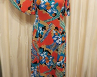 Vintage 1960s 1970s Hippie Maxi Dress with Sleeves
