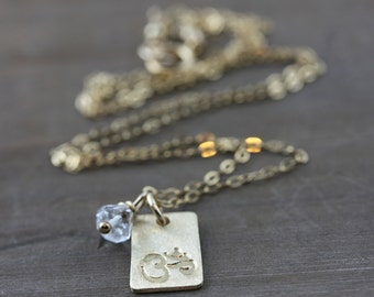 Om Necklace, Gold Bar hand Stamped Necklace, With A Herkimer Diamond