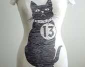 "Black Cat T-Shirt by MITMUNK - Vee Neck - Women's Graphic Printed White Burnout Tee - Unlucky ""13"""