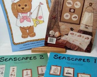 Sea Shore Cross Stitch 4 Books Nautical DeStash Shells Lighthouse Sailor Bears
