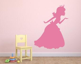 Princess Blowing Kiss Vinyl Wall Decal - Princess Sillhouette Vinyl Wall Decal - Princess Kiss Vinyl Wall Decal - Princess Room Decor