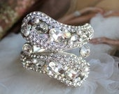 Bridal Bracelet, Wedding Bracelet, Vintage Style Pearl Rhinestone Bracelet, Hinged Bangle Bracelet, Wedding Jewelry, Bridal Accessories