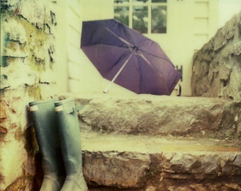 Polaroid photography, film photography, analog, outdoor, Wellingtons, wellies, rain photography, umbrella