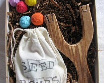 READY TO SHIP- Seed bomb and Slingshot boxed gift set