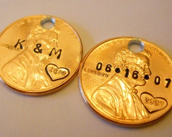 Anniversary Gift Set: Personalized Pennies; 7th 7 Year Gift, Initials & Wedding Date, Hearts, Holes Option, 1959 - 2017, Keychain Charms