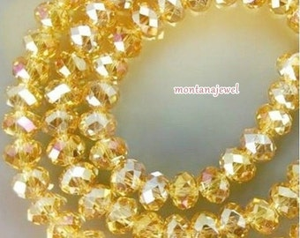24 Yellow AB Crystal Beads Rondelle 4x6mm Free Shipping U.S.