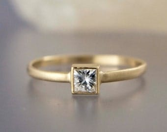 Square White Sapphire Engagement Ring in solid 14k Yellow or White Gold - Princess Cut Diamond alternative