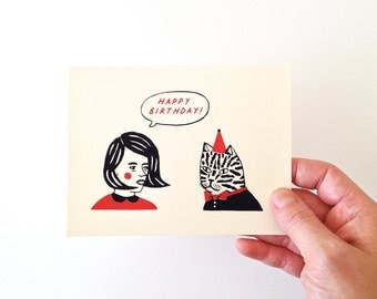 BIRTHDAY BUDDIES - Screen Printed Greeting Card