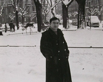 Vintage Winter Photo - Man Stood Outside in the Snow