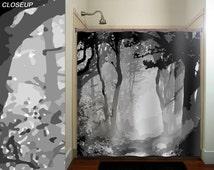 misty shades of gray camo forest tree shower curtain bathroom decor fabric kids bath window curtains panels valance bathmat