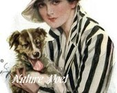 Lady in Striped Jacket and Hat Holding Dog Downloadable, Printable, Digital Art Image.Instant Download