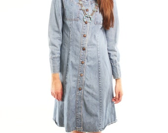 SIERRA 80s Solid Denim Snap Up Collared Western Boho Collared Grunge Long Sleeve Dress Small Medium