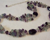 Fluorite and Amethyst Double Strand Necklace.