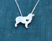 Australian Shepherd necklace, sterling silver necklace, hand cut pendant