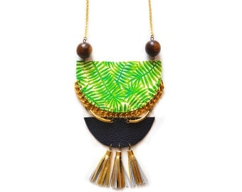 Tassel Statement Necklace, Palm Tree Necklace, Brass Necklace, Wood Geometric Necklace, Tassel Jewelry, Tribal Crescent, Tropical Jewelry