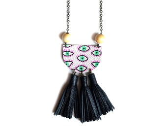 Eye Statement Necklace, Black Tassel Necklace, Beaded Wood Necklace, Geometric Necklace, Leather Fringe Tribal Jewelry, Tassel Jewelry